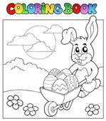 Coloring book with bunny and barrow — Stock Vector