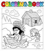 Coloring book with Indian in boat — Stock Vector
