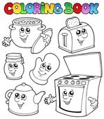 キッチンの漫画本を着色 — ストックベクタ