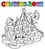 Coloring book with shipwreck — Stock Vector