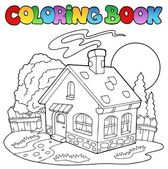 Coloring book with small house — Stock Vector