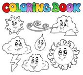 Coloring book with weather images — Stock Vector