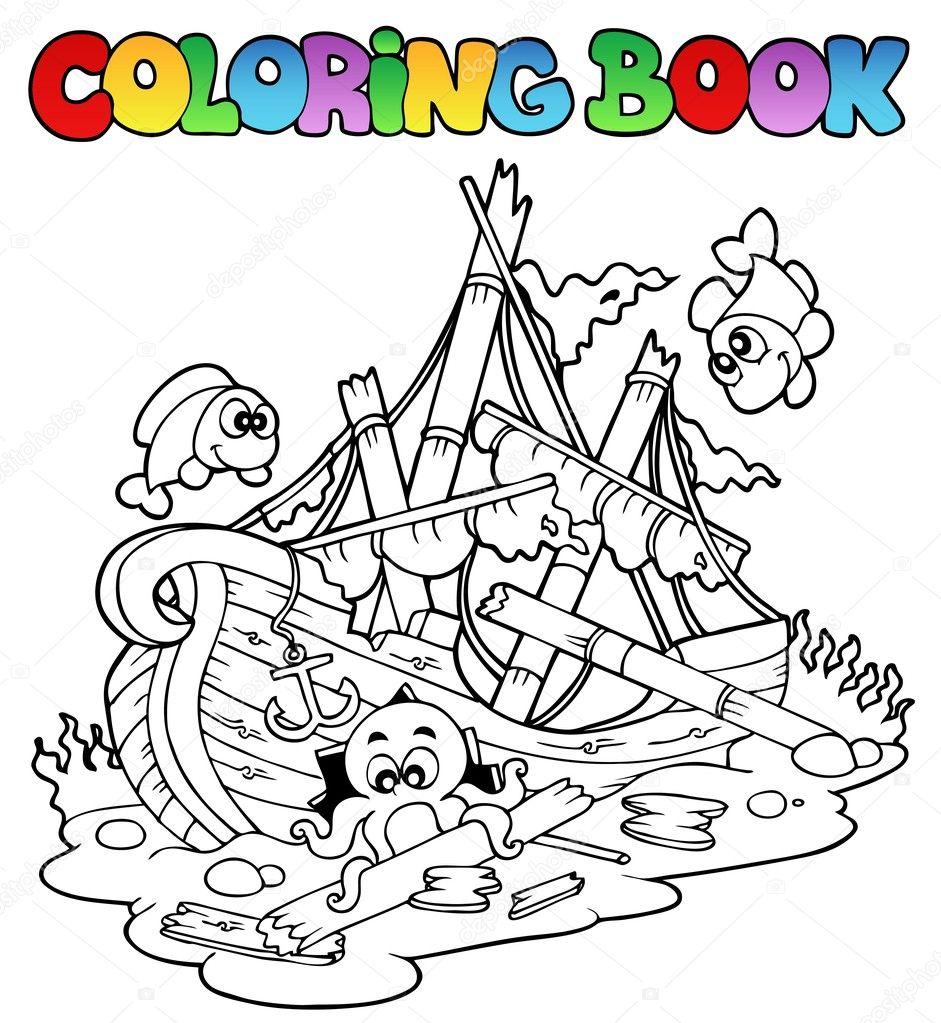 Livre De Coloriage Avec Naufrage Image Vectorielle