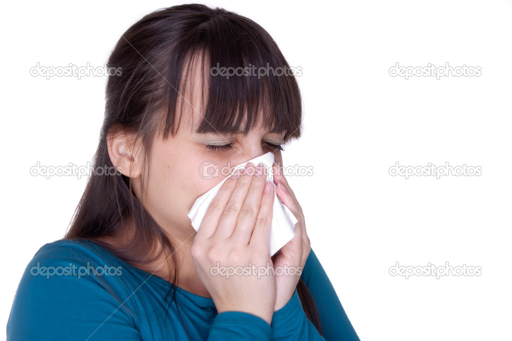 Sick woman with tissue on white — Stock Photo #4810617