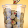 Olives with pepper in box — Stock Photo