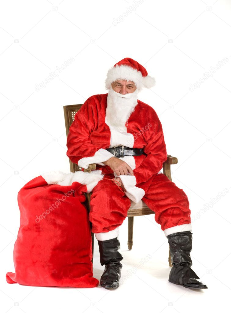 Santa Claus, photo on the white background   Stock Photo #4140890