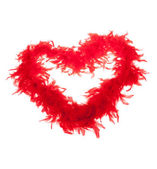 Red feathers-boas, heart shape — Stock Photo