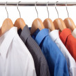 Stock Photo: Clothes hanger with shirts