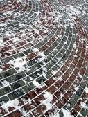 Street red brick under snow, winter weather — Stock Photo