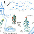 Dacha nature ladnmark, child drawing illustration — Stock Photo