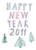 Happy new year 2012 trees, handwrited pen drawing — Stock Photo