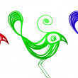 Stock Photo: Color birds diversity isolated on white, graffiti.