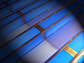 Abstract lighting, blue stairs construction. — Stock Photo