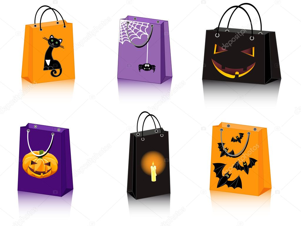 A set of six Halloween shopping bags — Stock Vector #4051251