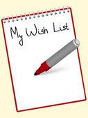 Notepad wishlist — Stock Vector