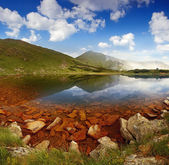 Summer landscape with lake in mountains — Stock Photo