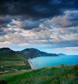 Summer landscape with the sea and mountains — Stock Photo