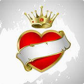 Red heart with a gold crown — Stockvector
