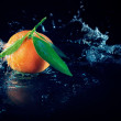 Orange on a black background with water — Stock Photo