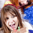 Two girlfriends with cake celebrate 21th birthday — Stock Photo