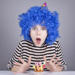 Funny blue-hair girl with cake. — Stock Photo #4080958