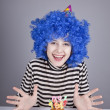 Funny blue-hair girl with cake. — Stock Photo #4080966