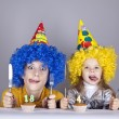 Two funny sisters four and eighteen years old — Stock Photo