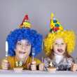 Stock Photo: Two funny sisters four and eighteen years old