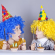 Two funny sisters four and eighteen years old — Stock Photo #4081291