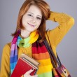 Young student girl with books. — Lizenzfreies Foto