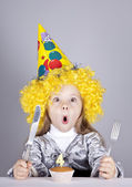Portrait of young girl at birthday with cake. — Stock Photo
