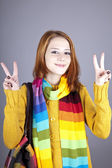 Portrait of red-haired girl in scarf. — Stock Photo