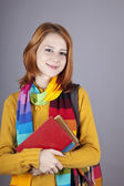 Young student girl with books. — Stock Photo