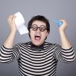 Funny men keeping clyster and toilet paper. — Stock Photo #4146653