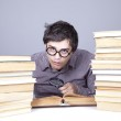The young student with the books isolated. — Stock Photo