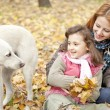 Two sisters sitting on the leafs in the park and looking at dog. — Stock Photo #4336877
