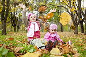 Two sisters play in the park. — Stock Photo
