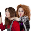Two funny angry girls. — Stock Photo