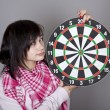 Girl with darts. — Stock Photo