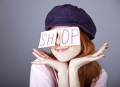 "Fashion girl with ""SHOP"" word on eyes. — Stockfoto"
