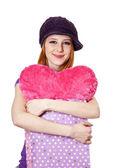 Vacker rödhårig tjej med hjärtat i väska. — Stockfoto
