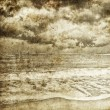 Sea storm. Photo in old retro style. - Stok fotoğraf