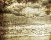Sea storm. Photo in old retro style. — Stock Photo