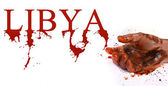 Hand in blood and word Libia symbolizes dead in Libyan co — Stock Photo