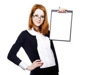 Portrait of the business woman with a represent folder. — Stock Photo