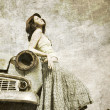 Girl near retro car. — Foto de Stock