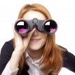Business women seeking with binocular — Stock Photo #5322313