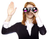 Business women seeking with binocular and show right hand — Stock Photo