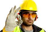 检查垂直水平的工人 — 图库照片