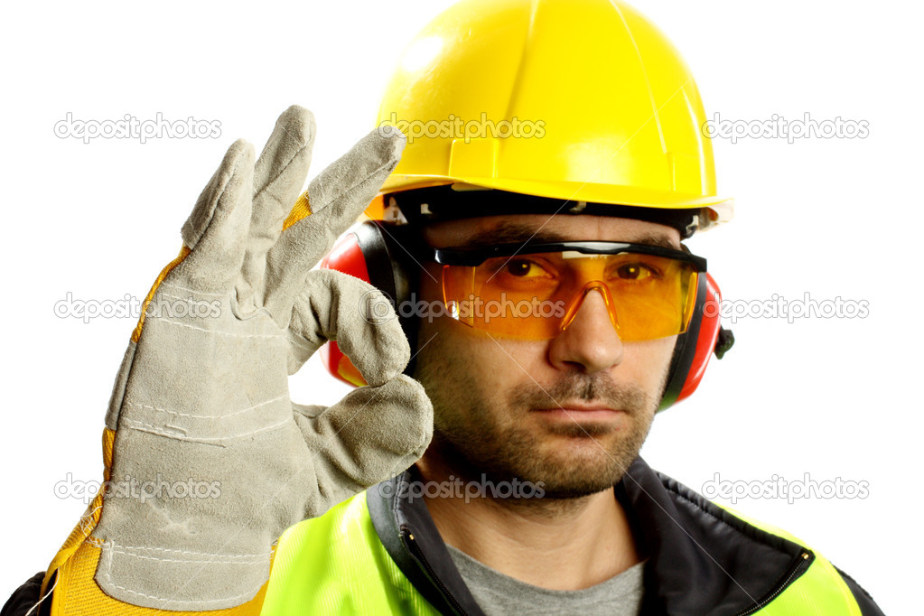 Worker checking vertical level with bubble level tool — Stock Photo #4633889